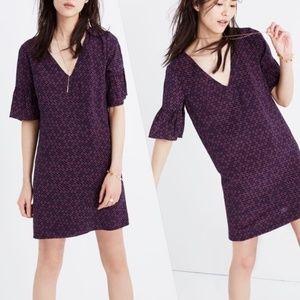 Madewell Silk Clover Bell Sleeve Shift Dress sz10